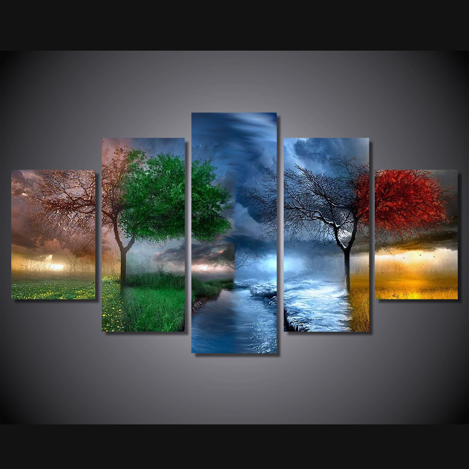 5 Pcs Set Framed Hd Printed Fantasy Tree Nature Picture