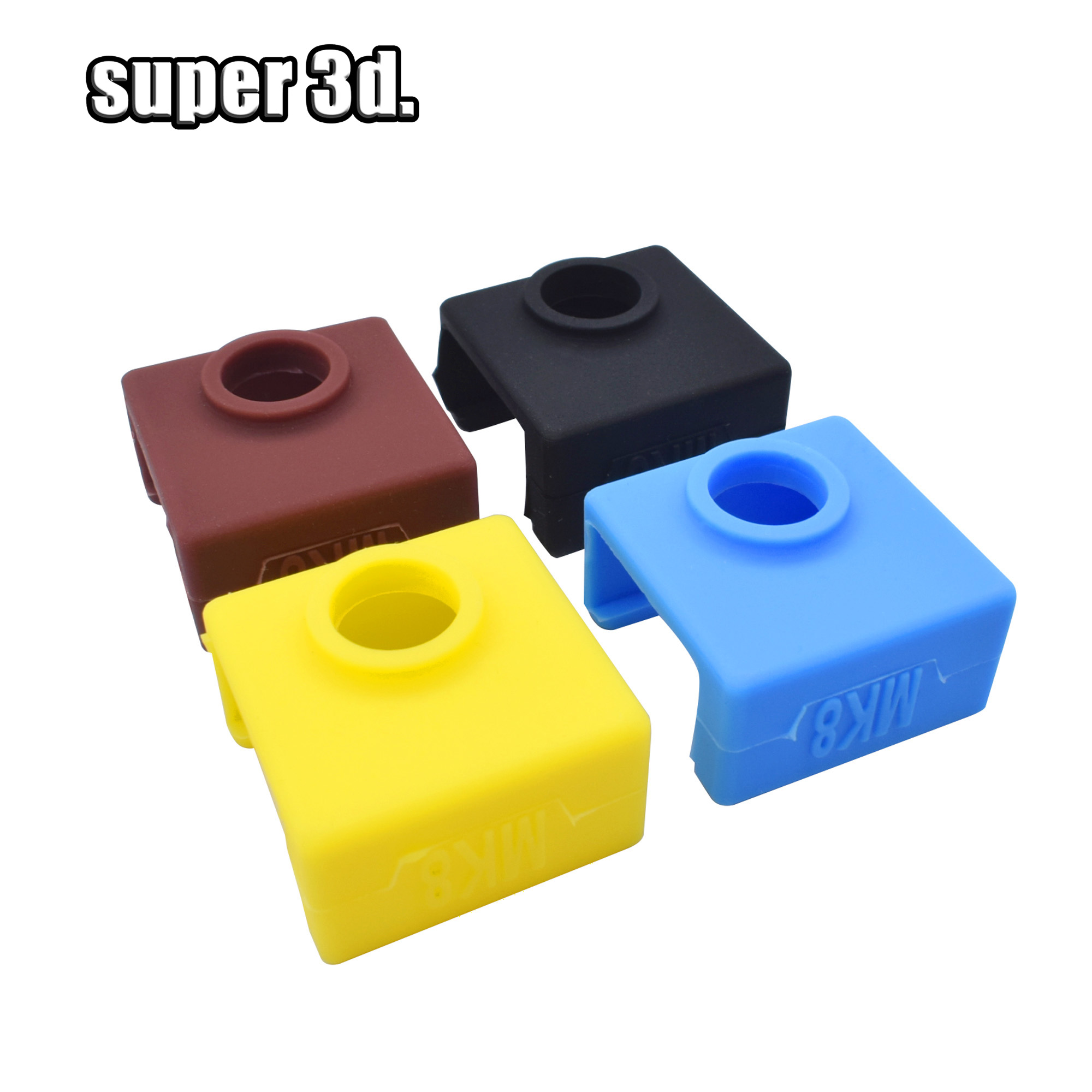 1PC 3D Printer MK8 Protective Silicone Sock Cover Case +1 Pc Heater Block MK7/MK8 Silicone Hot End Sock 3D Printer Parts