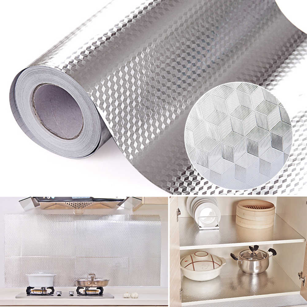40cm x 100cm Aluminiumfolie Zelfklevende Waterdicht Behang Keuken Sticker DIY Home Decor Oliebestendig sticker DIY Behang
