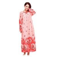 Autumn and winter ladies thick fleece long Nightgowns Warm flannel princess long sleeve sleepwear nightdress home dress big size