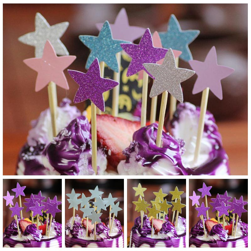 40Pcs Five Star Cupcake Cake Topper DIY Wedding Cake Stick Picks Dessert Cream Decorating Tools Kids Birthday Party Favors 8Z