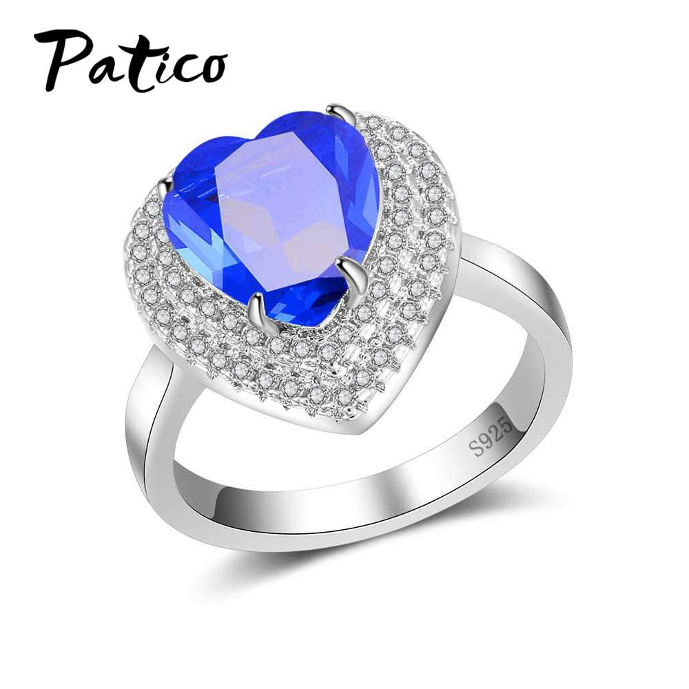 PATICO Fashion Hearts Brilliant cut Top Quality AAA+ CZ Cubic Zirconia Rings for Women Wedding Rings 925 Sterling Silver Jewelry