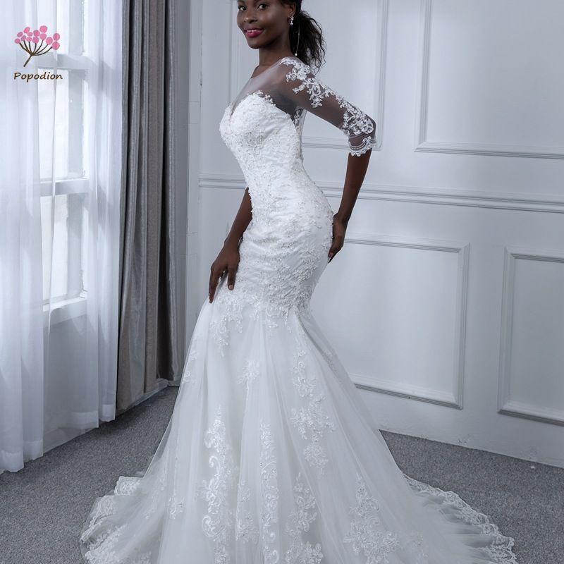 Mermaid Wedding Gowns 2019: Popodion Wedding Dress Lace Mermaid Wedding Dresses Bridal