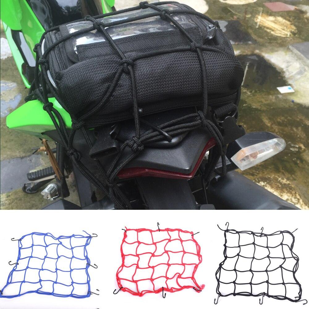 Motorcycle Luggage Net 6 Hooks Hold down Fuel Tank Motocross Helmet Net Mesh Web Bungee Cargo Racing Gear Holder Red Black Blue