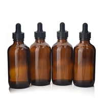 4 X 120ml New Empty 4 Oz Amber Glass Eye Dropper Bottles Boston Round With Pipettes