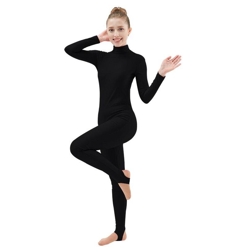 Ensnovo Womens Lycra Long Sleeve Unitard Lycra Nylon Spandex Yoga Dancewear Nude Bodysuit Black Unitards Costume For Gymnastics