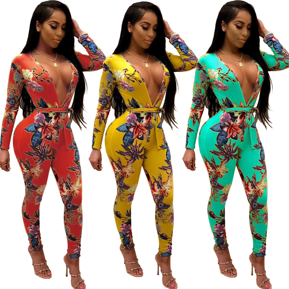 Floral Print Jumpsuit 2019 Summer Fashion Sexy Deep V neck Long Sleeves Ankle Length Skinny Bodycon Playsuits