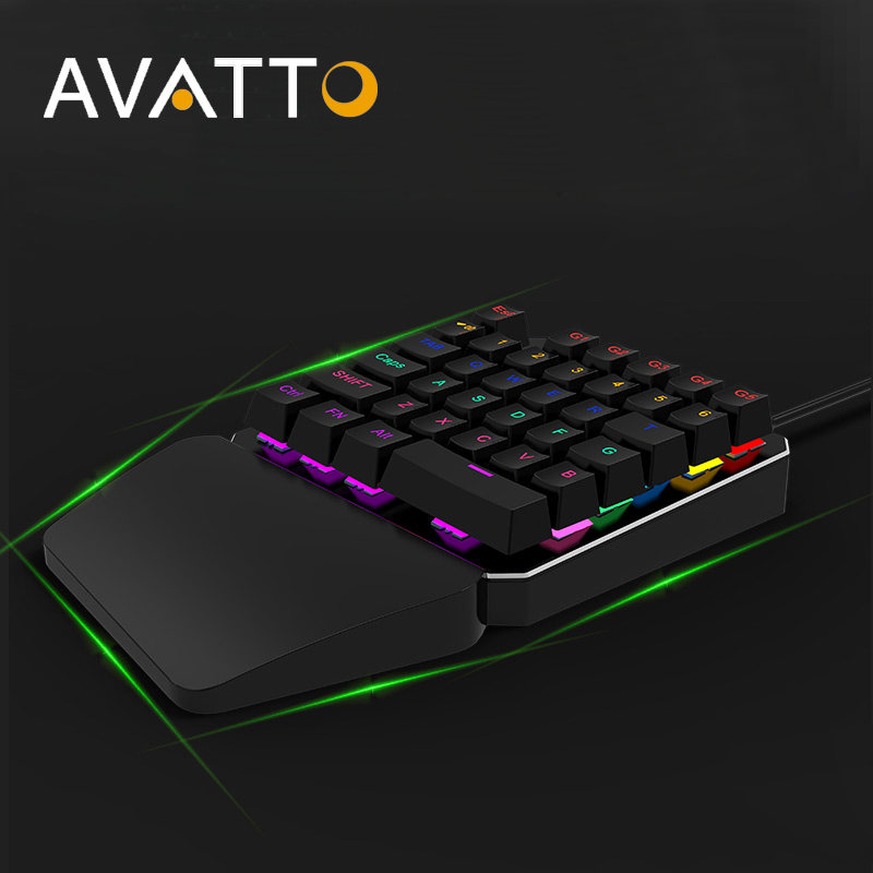 AVATTO K06 Single Handed Mechanical Gaming Mini Keyboard with USB Wired,Fully Programmable,backlit Keypad For PUBG LOL E-Sports