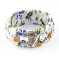 Fashion ladies floral fabric wrap cuff bangle with heart shaped acrylic rhinestone design funky cuff bangle , BR-1192