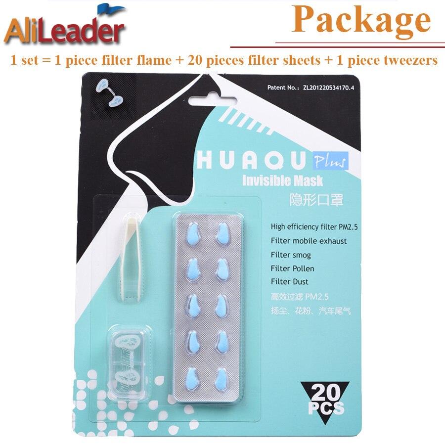 97.79% Ad Alta Efficienza 20 Pz Naso Filtro 1 Pz Telaio Maschera Antipolvere Maschera Invisibile Contro Pm2.5 Foschia Allergia Sicuro di Silice Filtro di Gel