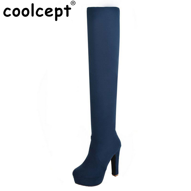 New Women Suede Sexy Fashion Over the Knee Boots Sexy Thin High Heel Boots Platform Woman Shoes Black Blue size 34-43 new women suede sexy fashion over the knee boots sexy high heel boots platform woman shoes black blue size 34 43