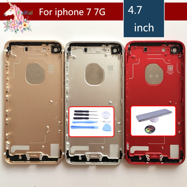 huge selection of 70825 677fc US $18.05 5% OFF|Original For iphone 7 7G case iphone 7 Plus body chassis  full housing shell assembly battery cover replacement New Middle Frame-in  ...