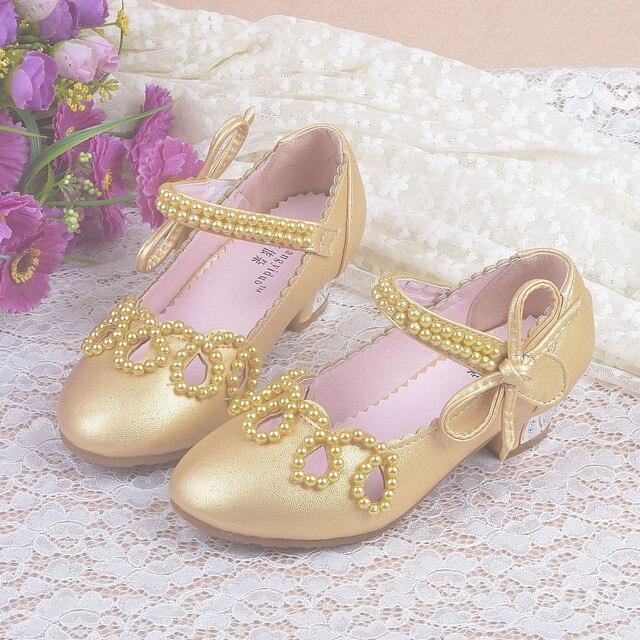 Девушки Новый Кожаный Корейской Версии Кожаные Ботинки Дети Высокий Каблук Перл Боути Обувь Дети Партия Производительность Кожаная Обувь C87