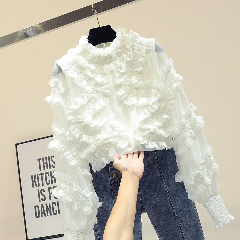긴 소매 셔츠 랜턴 슬리브 셔츠 여성 새로운 패션 스탠드 칼라 프릴 쉬폰 블라우스 여자 레이디 화이트 blusas 자르기 가기-에서블라우스 & 셔츠부터 여성 의류 의  그룹 1
