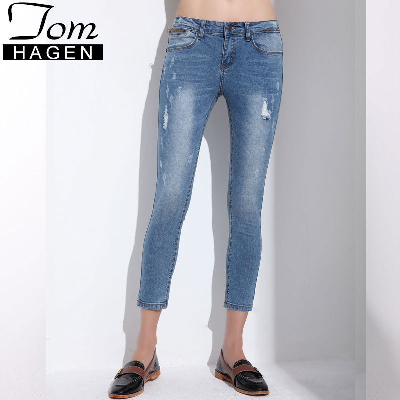 e7d776e04c8 Tom Hagen Female Jean Vaqueros Mujer Slim Pencil Pants For Women Ripped  Jeans For Women Skinny