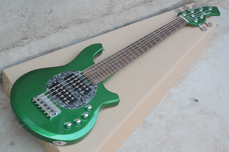 free shipping New Arrival 6 String Music Man Bongo Electric Bass Guitars Green Color with Active Pickups Bass Guitar 1027 finish bass guitars electric chinese 5 string bass butterfly bass guitar free shipping made in china