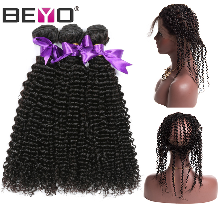 Brazilian Kinky Curly Human Hair Bundles With 360 Lace Frontal Closure 3 Bundles With 360 Frontal Nonremy Hair Extensions Beyo