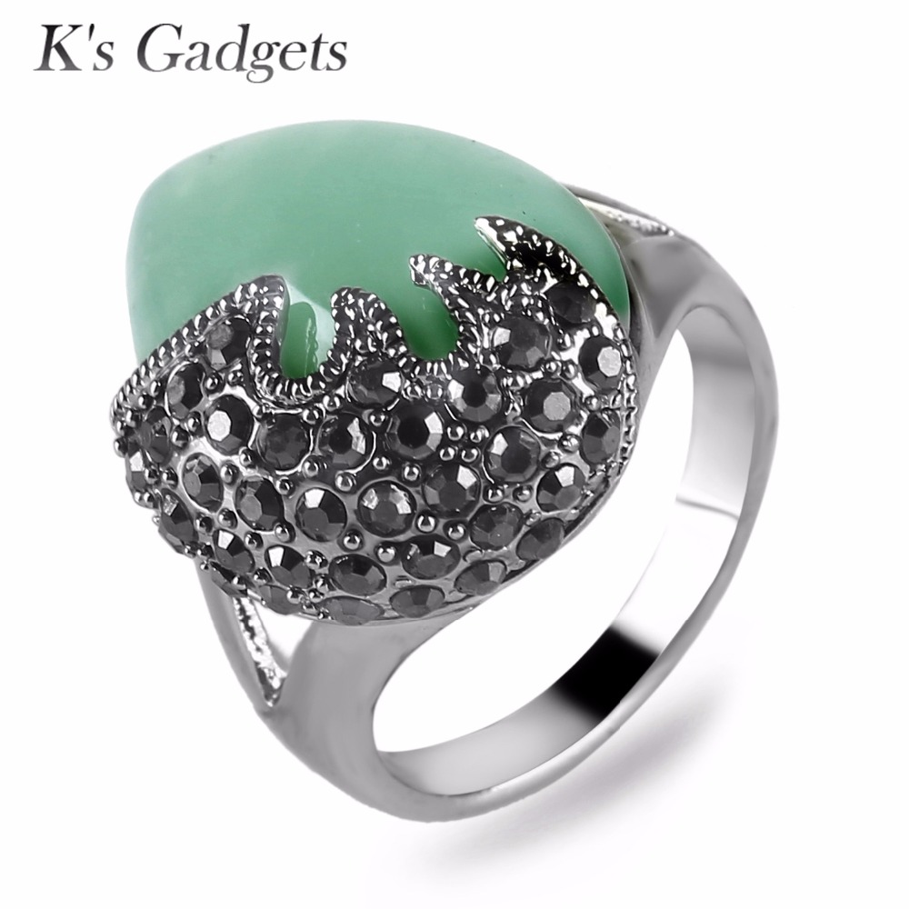 Ks Gadgets Big Stoen Vintage Ring Anillos Con Piedras Naturales Antique Silver Rings for Women Yellow Green Water Drop Ring