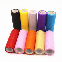 HANXIN 15cm 10 Yards Glitter Shimmering Tulle Roll DIY Lace Fabric Rolls Kids Tutu Skirt Apparel Knit Mesh Sewing Accessories