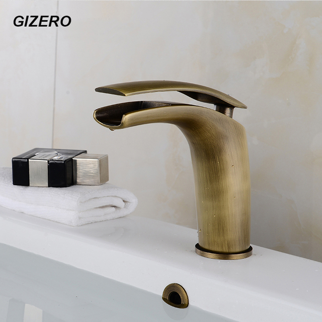 New Arrival Antique Copper Basin Faucet Bathroom Waterfall Sink Taps Deck  Mounted Coldu0026Hot Mixer Crane ZR214