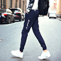 Мужские Бегунов 2016 Осень 95% Хлопок Брюки Мужчины Корейской Моды Дизайн Стороны Молнии Длинные Брюки Повседневные Мужские Брюки Большой Размер