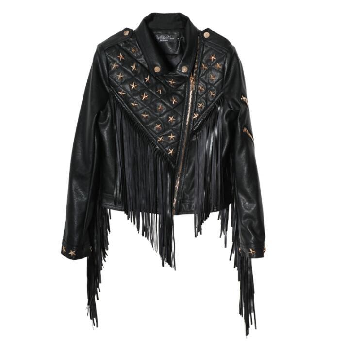 Survêtement Femelle Faux 2019 Hiver Vestes Autunm Cuir Chaude Manteau Mode Femmes Noir Rivet Nouvelle Gland Marque De Moto pwqwBnaW