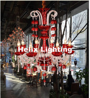 Free Shipping Modern D75cm H93cm 8L Crystal Chandelier Clear/Red/ Blue Chandelier Lighting Fancy Suspension Lamp Vintage Lights