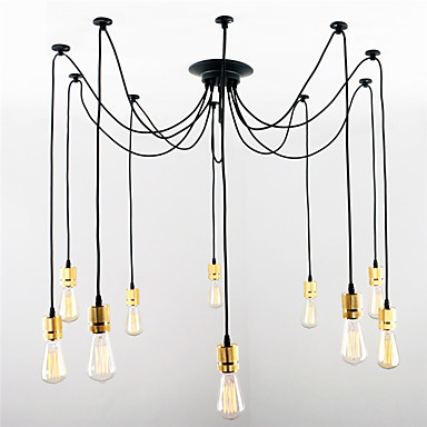 8 heads style loft industrial pendant light fixture dinning room hemp rope lamp vintage lights led edison style 10 Heads Loft Industrial Lamp LED Pendant Lights Fixtures Dinning Room Lampen Edison Vintage light Pendente Indoor Lighting