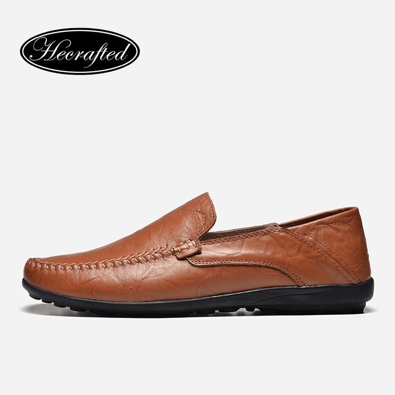 36-47 men casual shoes full grain leather fashion handmade 2017 HECRAFTED men loafers #ht8008 branded men s penny loafes casual men s full grain leather emboss crocodile boat shoes slip on breathable moccasin driving shoes