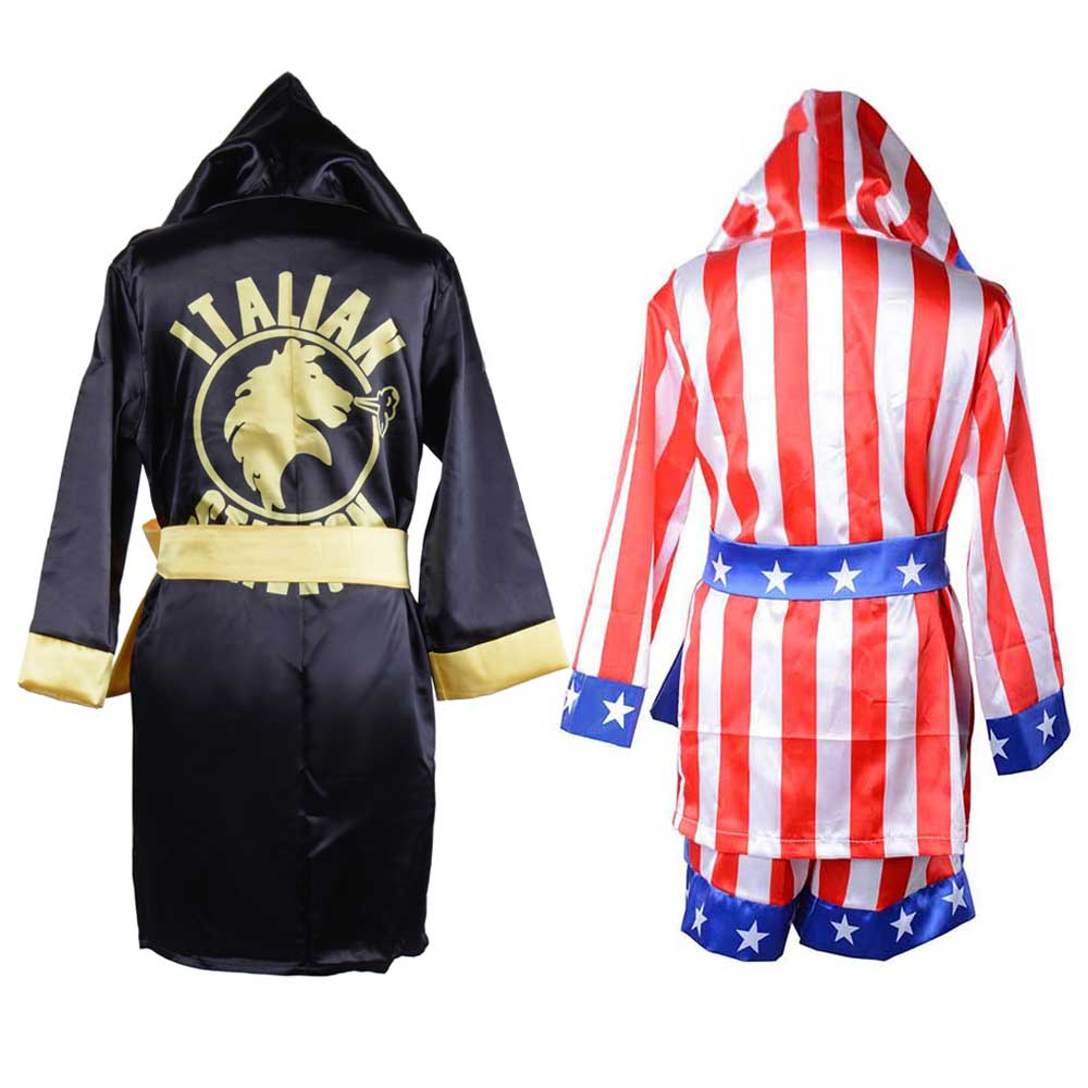 Rocky Balboa Boxing Costume Kids Boxer Robe Movie Apollo Rocky Cosplay Italian Stallion American Flag Bathrobe Boxer Shorts Set