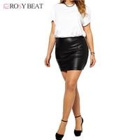 Короткие кожаные Юбки для женщин для женщин; Большие размеры из искусственной кожи облегающая юбка для дам большой мини черный, красный Выс...