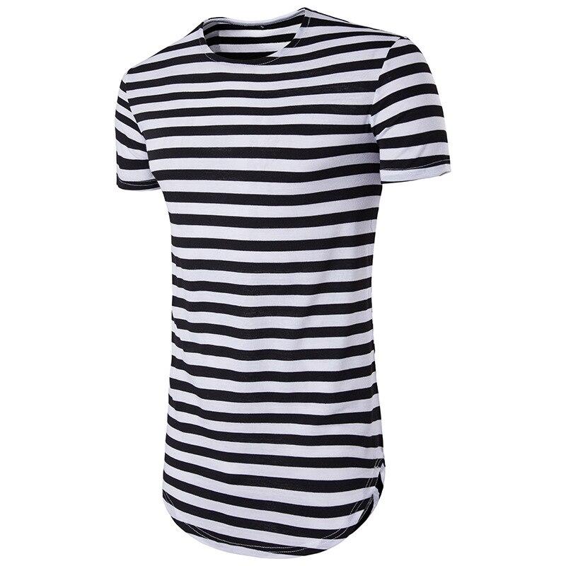 33ddbab0c8a BIG SALE  CHEAP 2019 striped long t shirt Men Hip Hop Black t-shirt ...