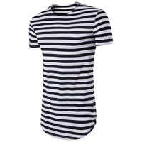 2017 Striped Long T Shirt Men Hip Hop Black T Shirt Longline Extra Long Tee
