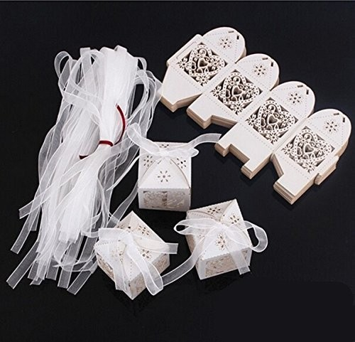Hollow Heart Laser Cut Paper Gift Boxes [ 100 Piece Lot ] 9
