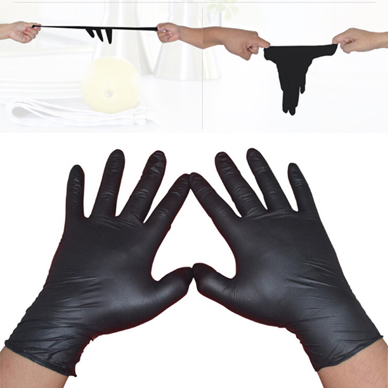 10/50Pcs Black Gloves Disposable Permanent Tattoo Gloves Tattoo Latex Gloves Tattoo Accessories S M L