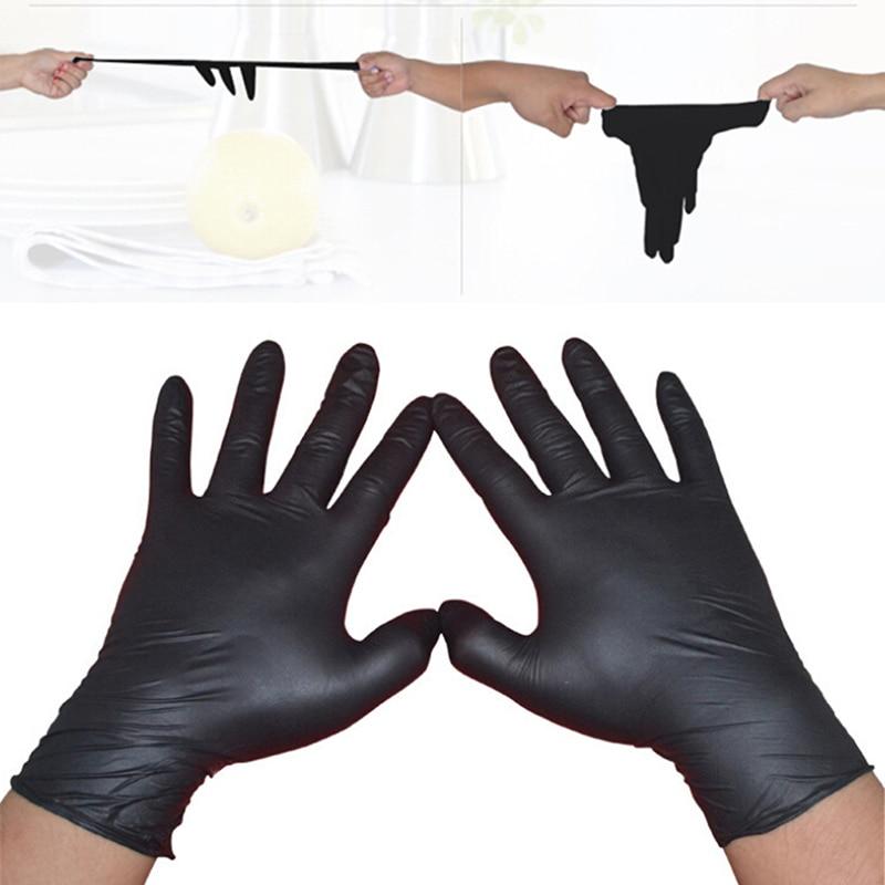 10/50Pcs Black Gloves Disposable Permanent Tattoo Gloves Tattoo Latex Gloves Tattoo Accessories S M L