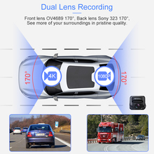 Dual Lens 4K Ultra HD GPS Dash Camera with ADAS and Night Vision