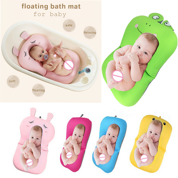 Foldable Baby Bath Mat Cushion Lovely Cartoon Frog Design Bath Tub Pad Safety Baby Shower Bath Antiskid Cushion Bathing Net Mat