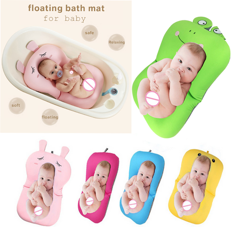 Foldable Baby Bath Mat Cushion Lovely Cartoon Frog Design Bath Tub Pad Safety Baby Shower Bath Antiskid Cushion Bathing Net Mat цена 2017