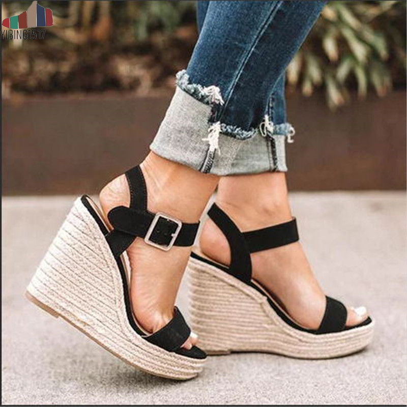 YIBING1517 Wedges Heel Shoes Pumps Platform Elevator Sandals Fashion Open-Toe Plus-Size