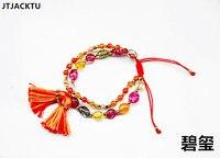 Red Series Natural Stone Nylon Bracelet Handmade