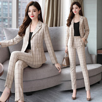 Work Fashion Pant Suits 2 Piece Set for Women Single Breasted Plaid Blazer Jacket & Trouser Office Lady Suit Feminino 2018