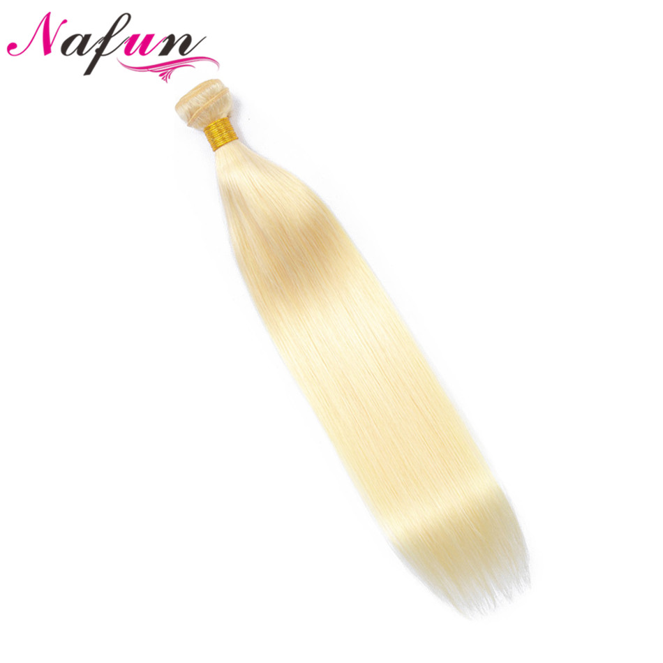 NAFUN Malaysian Straight Hair Bundles 100% Human Hair Extension 8 To 28 Inch Non Remy Hair Weaving #613 Blonde Bundles image