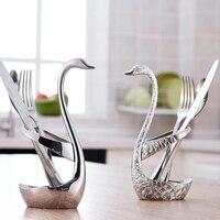 Swan Dinnerware Spoon Sets Holder Wedding Party Tableware Set Dinnerware Sets Free Shipping Kitchen Accessories