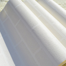 53cmx10m White Brick Wallpaper Non-woven Fabric 3D TV Backgr