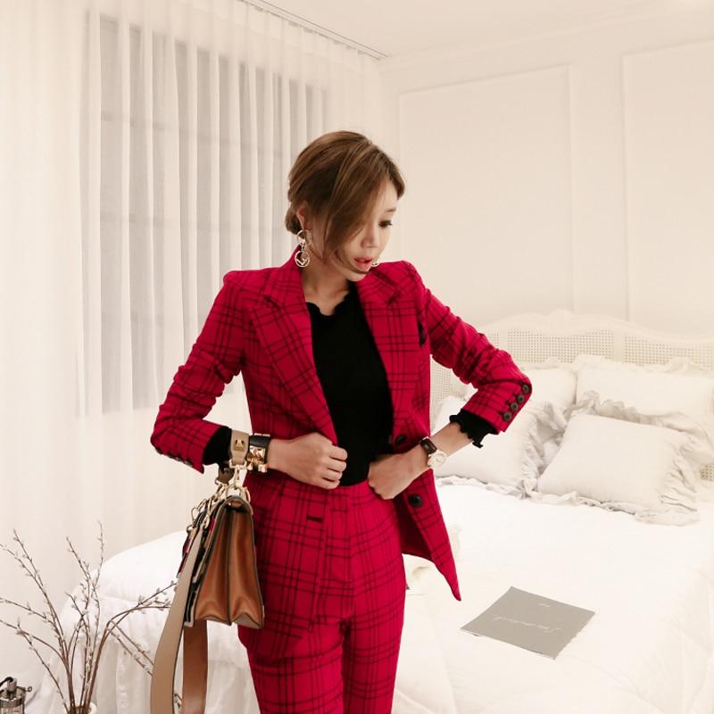 Ufficio Suitspants Donne Affari Stili Plaid Uniforme Delle Set Con Pezzi Rosso Vestito Due Di Elegante Pantaloni Vestiti Lavoro A Usura Formale Nuovo Del Casual 1cTKlFJ3