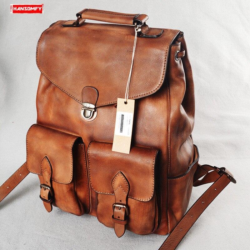 En Cuir Véritable Hommes sac à dos décontracté Vachette grande capacité Moraillon ordinateur portable sac à bandoulière rétro voyage sacs à dos