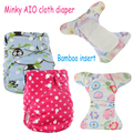 2016 free shipping super soft baby cloth diaper nappy, minky PUL printed all in one size AIO baby nappies with bamboo insert