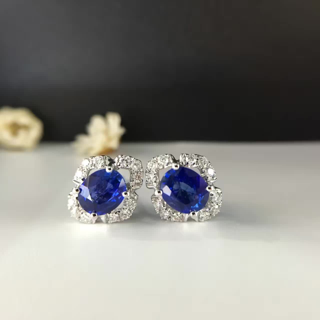 1454ct+0244ct 18k Gold Natural Sapphire Stud Earrings For Women Diamond  Encrusted Free