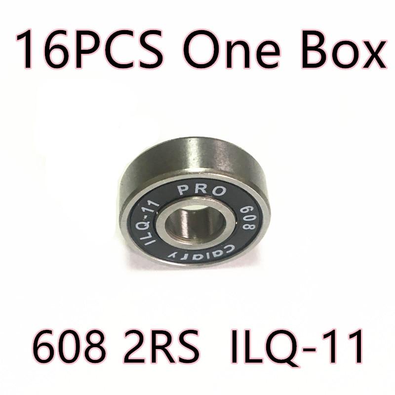 16pcs/ Box 7 balls Skate bearing 608-2rs 8*22*7 mm 608 2RS black bearing 608 for Inline skates bearing Skateboard Scooters